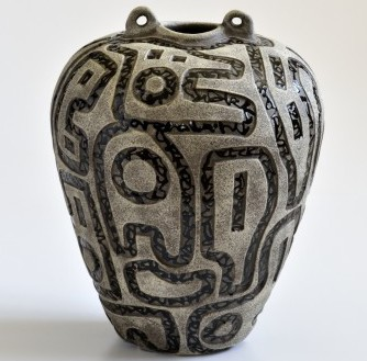 Ancient Vessel series pottery by Boyan Moskov for the fine craft collector. This selection of carved ceramic work is at the League of NH Fine Craft Gallery in Littleon NH