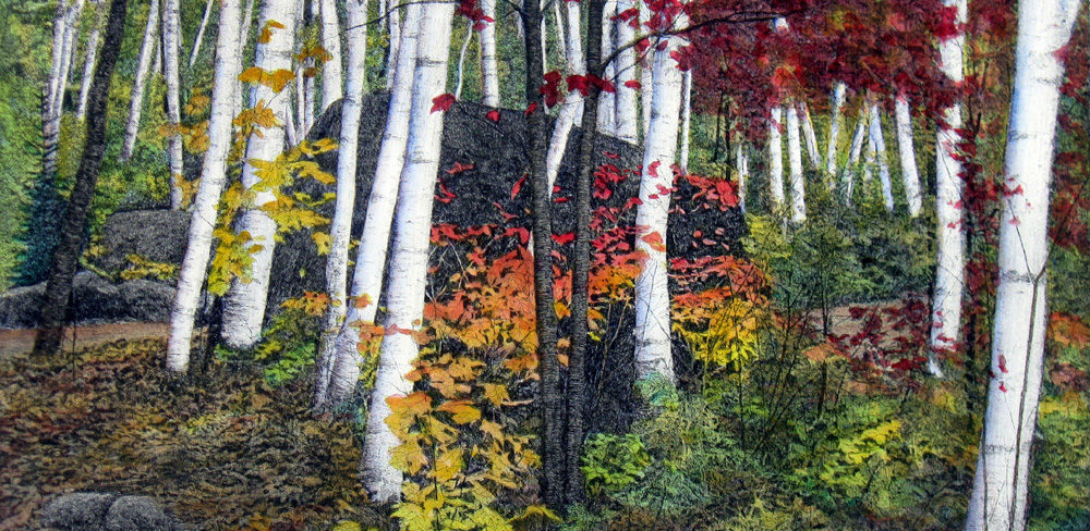 Bruce Peck Autumn etching available at the Littleton LEag¨´of NH Craftsmen gallery 81 Main St Littleton NH home decor