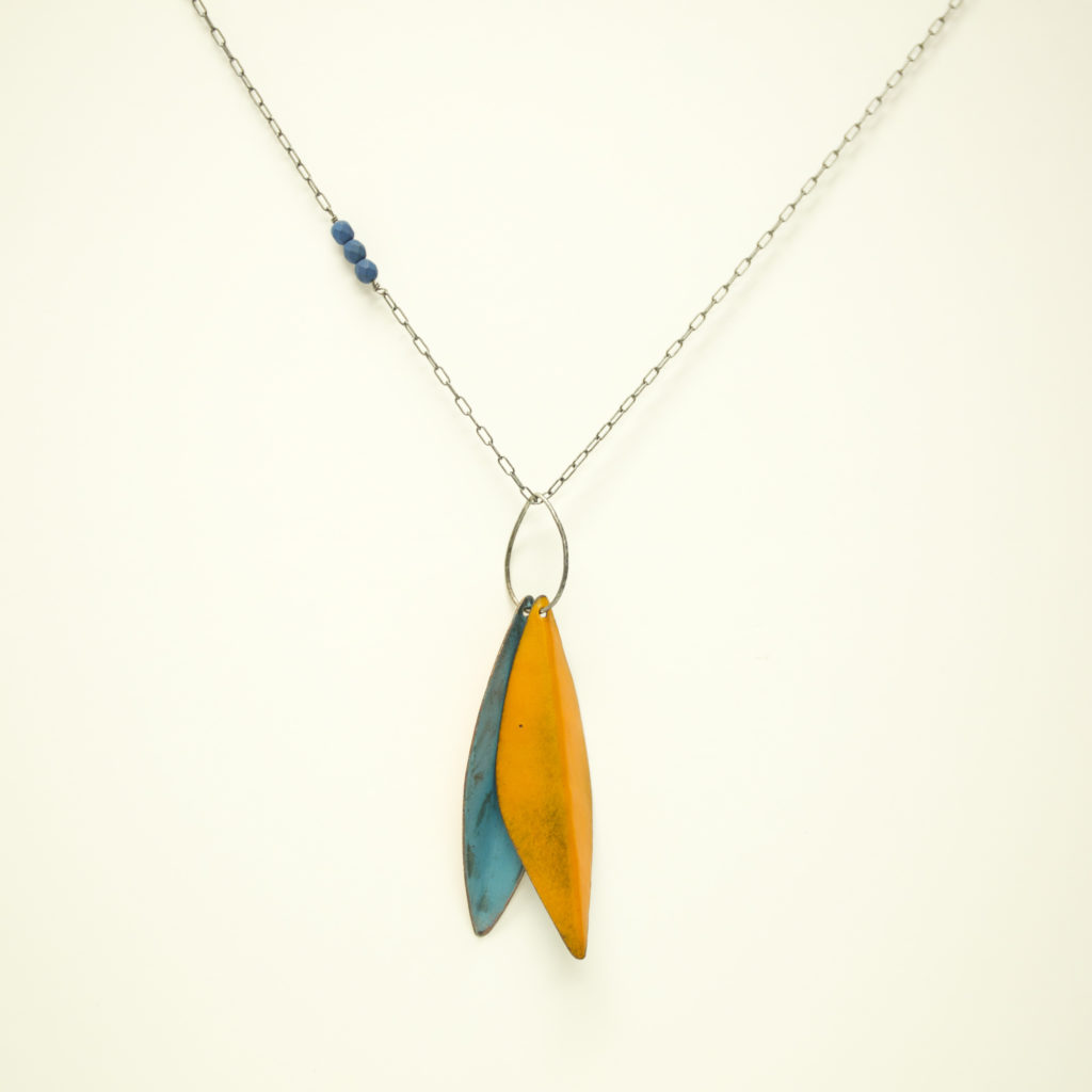 Paulette Werger enamel necklace leaf design with orange and blue enamel