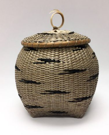 Basket by Sharon Dugan made of brown ash titled Migration available in teh Littleton League of NH Craftsmen gallery collectable