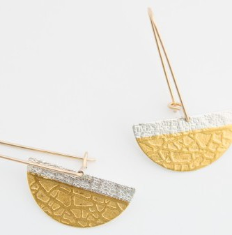 Earrings hand crafted of fine silver and 24k gold Kuembo with texture and swings from 14k gold filled wires are light and can be worn everyday or dress up a new outfit available at the Littleton League of NH Fine Craft gallery where you will find interesting jewelry to wear.