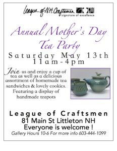 Mother's Day Tea Party 2017 at the Littleton League Gallery. Serving tea in vintage cups and exhibit of handmade teapots by juried craftsmen