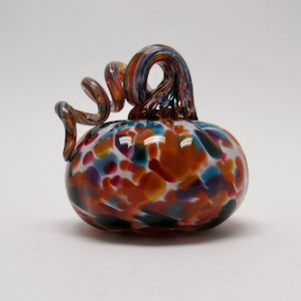 handblown glass pumpkin by Lada Bohac is so colorful with blues and rusts. Home decor. Available at the Littleton League of NH Craftsmen Gallery in Northern NH