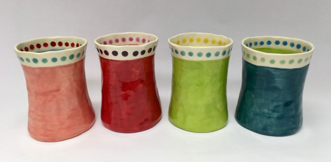 colorful cups før your kitchen by craftspeerson Erin Moran. Available at Littelton League Gallery gift shop in the White Mountains of NH. Wedding gifts, gifts for her, gifts for him, home decor