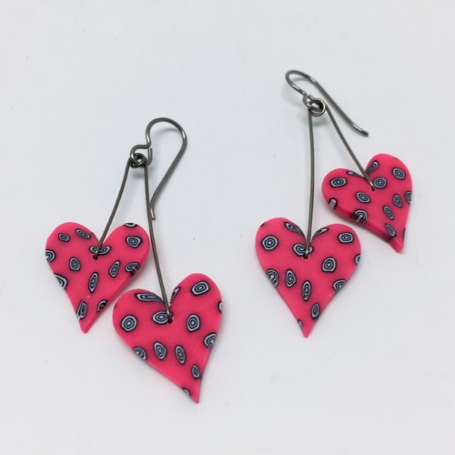 Heart earrings of polymer clay by Susan Samitz perfect for you valentine and sold at Littleton League of NH Craftsmen gallery , Littleton NH in the white mountains
