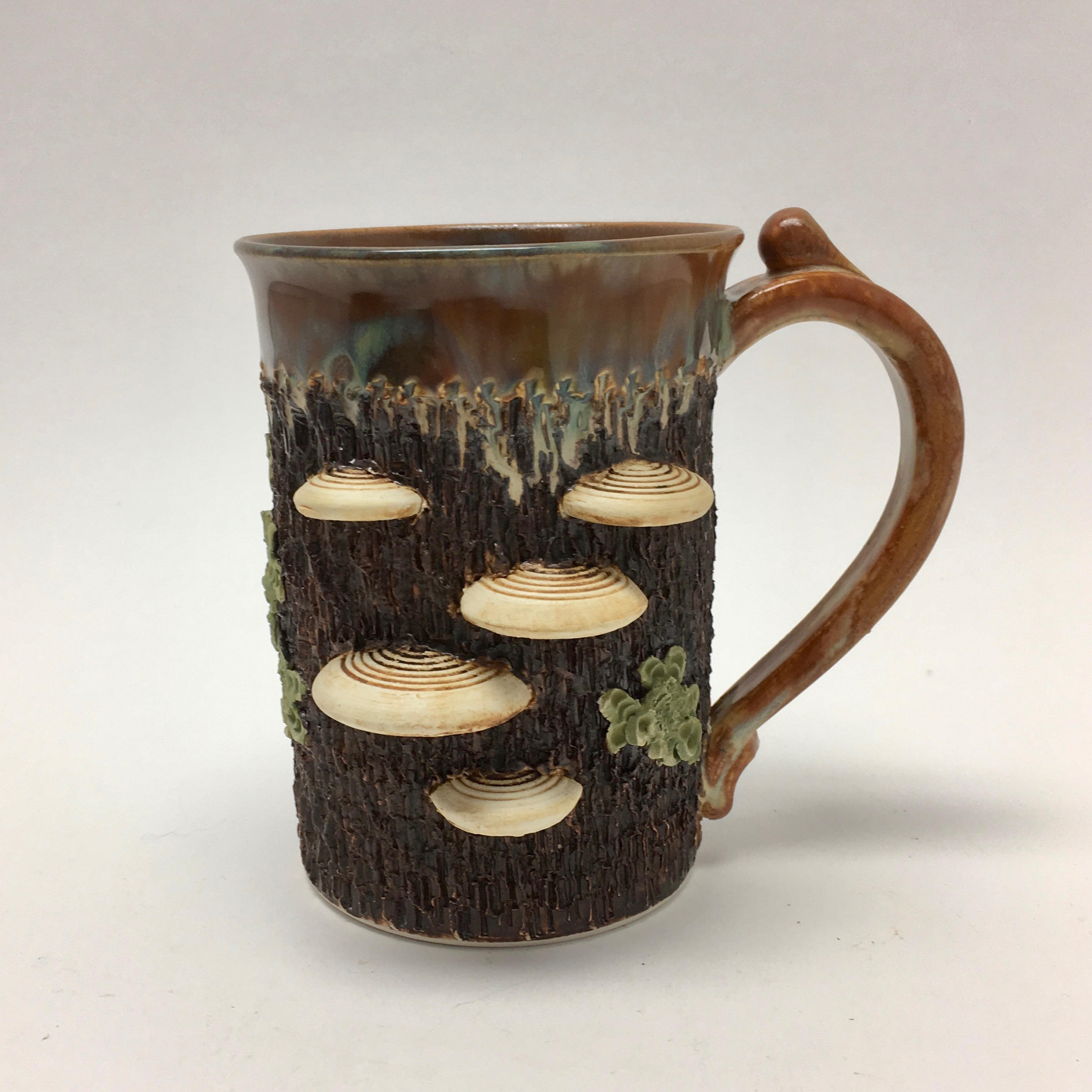 Mug made by Richard Roth with lichen and mushrooms for any forager at the Littleton League of NH Craftsmen , great gift