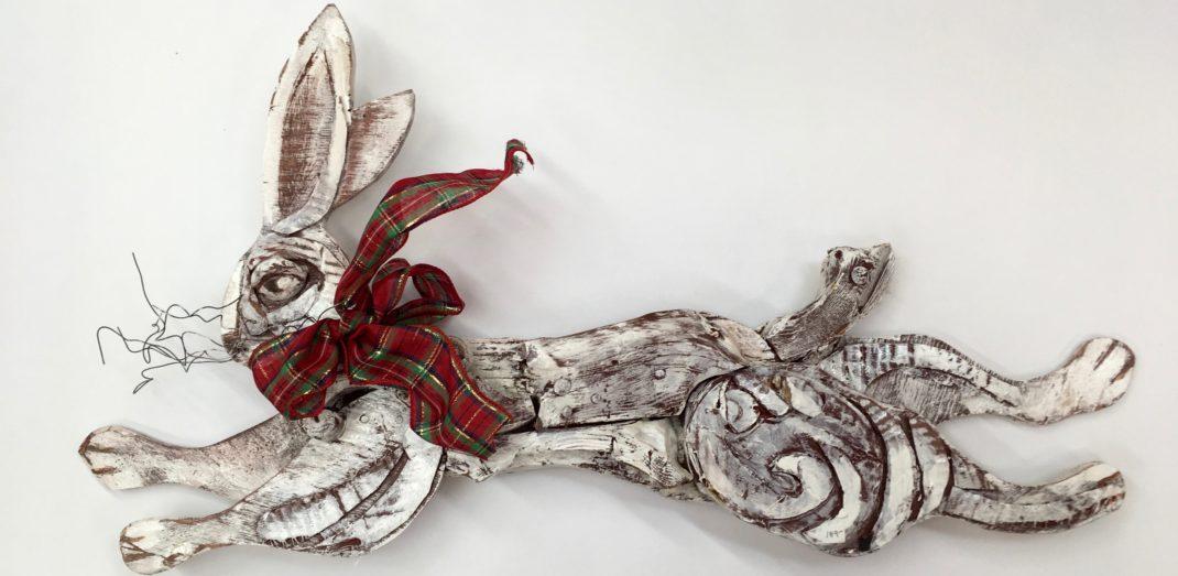 Jim Lambert white mixed media rabbit available at the Littleton Leagë of NH Craftsmen Gallery . Home decor
